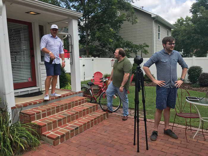 Taylor Hutchins and Daniel Waters of DKM Media set up their 360-camera at the Snider-Floyd House as the home's owner, Chace Jensen, looks on. Photo submitted.